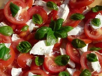 Italienische Spezialität Caprese Mozzarella mit Tomaten und Petersilie
